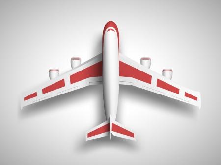Illustration pour Vector red airplane top view  - image libre de droit