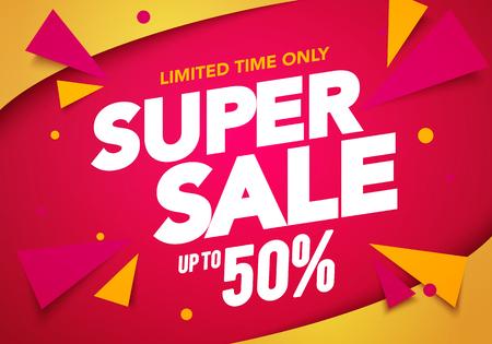 Ilustración de Vector illustration super sale banner template design, Big sales special offer. end of season party background - Imagen libre de derechos