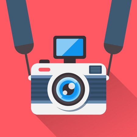 Illustration pour Retro camera on a strap in a flat style. Camera image on a red background shading with a shadow. Fully editable vector illustration. - image libre de droit