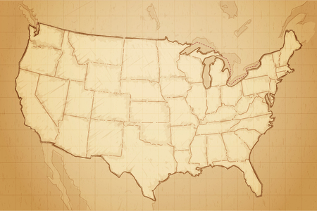 Illustration pour United states of America map drawn on aged paper vector illustration - image libre de droit