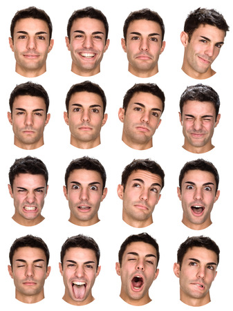 Foto de short hair brunette caucasian man collection set of face expression like happy, sad, angry, surprise, yawn isolated on white - Imagen libre de derechos