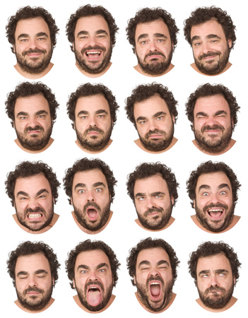 Foto de short curly hair and beard brunette adult caucasian man collection set of face expression like happy, sad, angry, surprise, yawn isolated on white - Imagen libre de derechos
