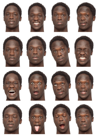 black brunette short curly hair young african man collection set of face expression like happy, sad, angry, surprise, yawn isolated on white