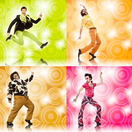 Photo pour four vintage funny man dance composition set on colored background - image libre de droit