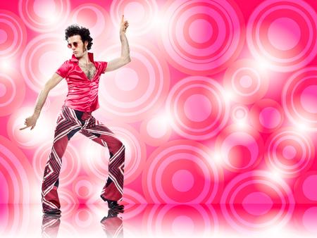 Photo pour 1970s vintage man dance with pink background - image libre de droit