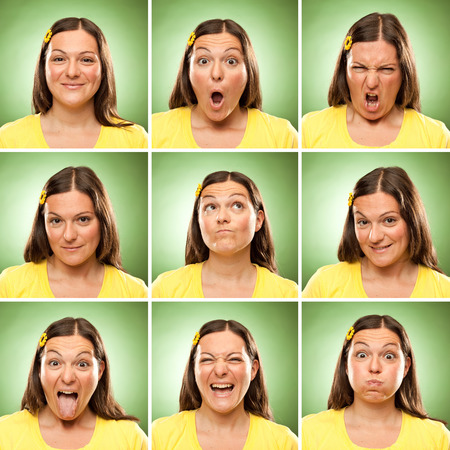 Photo for brunette long hair adult caucasian woman square collection set of face expression like happy, sad, angry, surprise, yawn on green - Royalty Free Image
