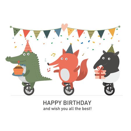 Illustration pour Birthday party, Crocodile and fox and tapir - image libre de droit