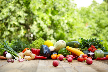 Photo pour Fresh organic vegetables ane fruits on wood table  in the garden  - image libre de droit