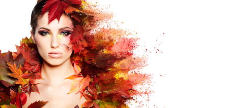 Photo pour Autumn Woman portrait with creative makeup  - image libre de droit
