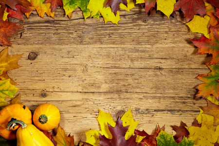 Photo for Thanksgiving Autumn Fall background with red, brown and yellow leaves and pumpkin - Royalty Free Image