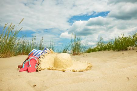 Photo pour Beach scene,  summer accessories, Summer concept - image libre de droit