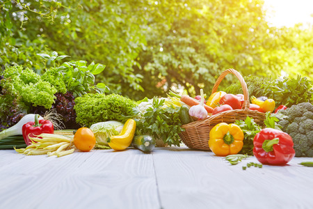 Foto de Fresh organic vegetables and fruits on wood table in the garden - Imagen libre de derechos