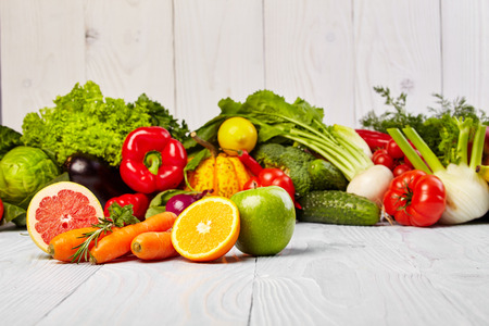 Photo pour Fruit and vegetable on the table - image libre de droit