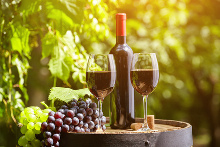 Photo pour Old wooden barrel with glass of red wine. - image libre de droit