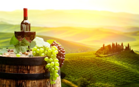 Photo pour Red wine with barrel on vineyard in green Tuscany, Italy - image libre de droit
