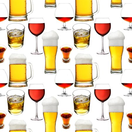 Seamless pattern - Alcohol  beverages over white background mural