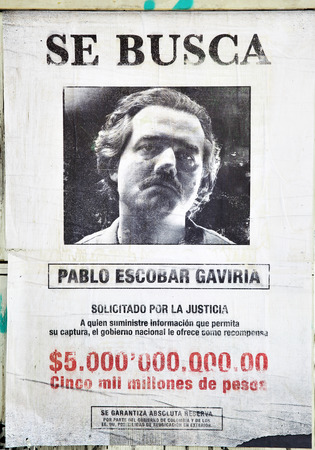 Photo for MADRID, SPAIN - September 01, 2016:  Promotional poster for TV series Narcos (Wanted Pablo Escobar Gaviria, prize 5 billions pesos) in Madrid - Royalty Free Image