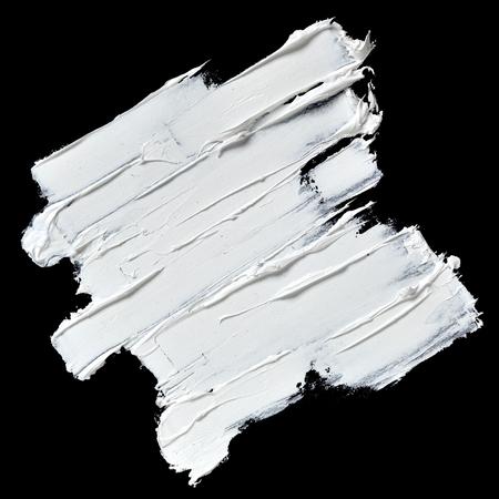 Foto de White oil paint textured brush strokes isolated on black background - Imagen libre de derechos