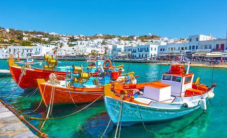 Photo pour Port with old fishing boats and the waterfront in Mykonos Islang, Greece - image libre de droit