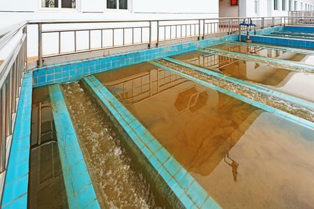 Photo pour Modern urban wastewater treatment plant - image libre de droit