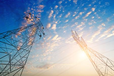 Photo pour High-voltage tower sky background. - image libre de droit