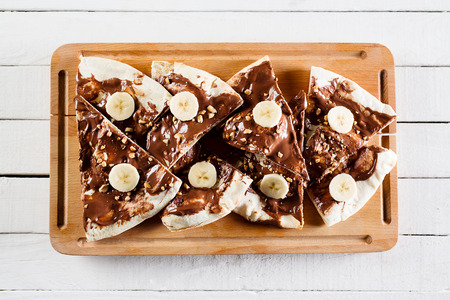 Photo for Dessert or breakfast pizza with nutella - Royalty Free Image