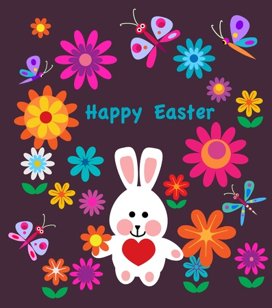 colorful spring flowers and easter bunny easter card