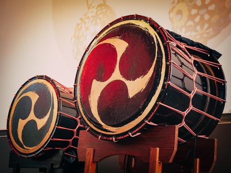 Foto de Taiko drums o-kedo on scene background. Musical instrument of Asia Korea, Japan, China - Imagen libre de derechos