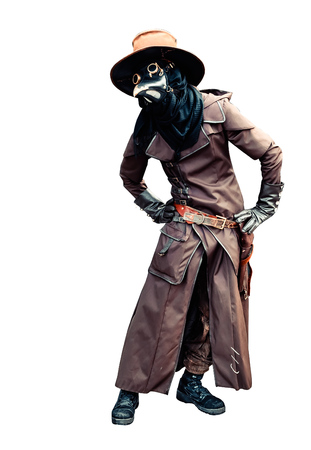 Photo for Plague doctor brown leather costume isolated - Royalty Free Image