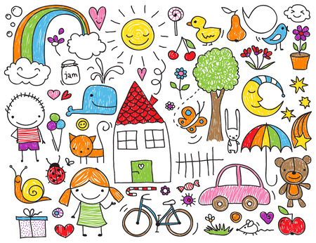 Illustration pour Collection of cute children's drawings of kids, animals, nature, objects - image libre de droit