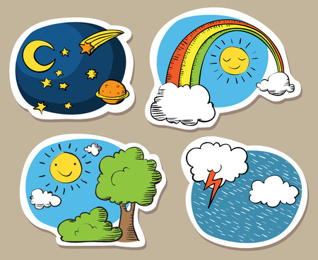 Set of cute cartoon skies, with sun, rainbow, rain and night sky.