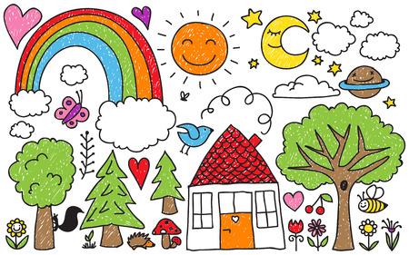 Illustration pour Collection of cute kids' drawings of animals, plants and celestial elements - image libre de droit