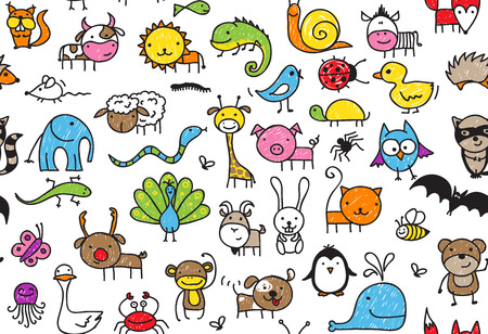 Illustration pour Seamless pattern of doodle animals, children's drawing style - image libre de droit