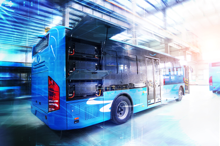 Photo pour Pure electric buses in factories - image libre de droit