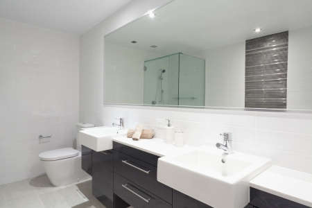 Modern twin bathroom with sinks, toilet and shower.