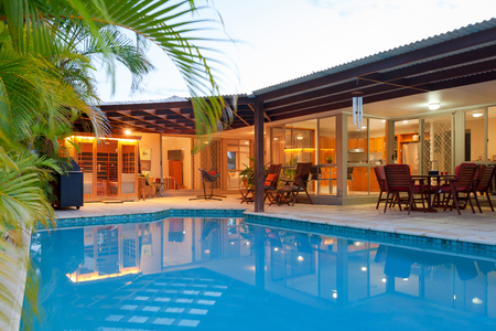 Foto de Backyard with swimming pool in stylish home - Imagen libre de derechos
