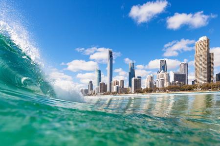 Foto de View from the water of Surfers Paradise on the Gold Coast, Australia - Imagen libre de derechos