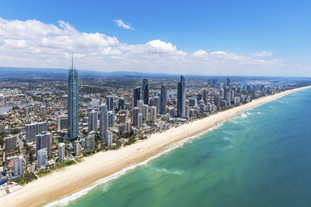 Photo for Sunny aerial view of Surfers Paradise looking inland on the Gold Coast, Queensland, Australia - Royalty Free Image