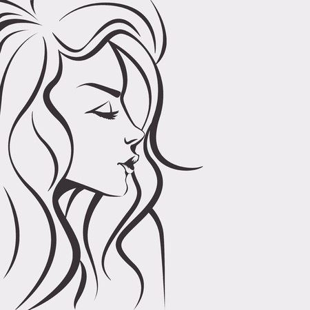 Illustration for Sketch woman - Day dreaming girl with long hair - Royalty Free Image