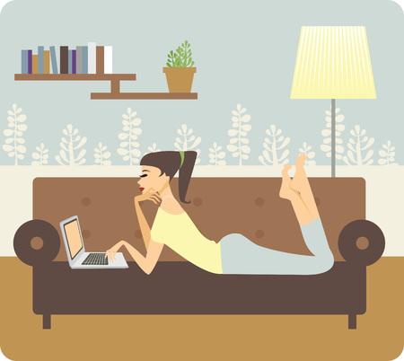 Illustration pour young beautiful woman using a laptop computer at home - image libre de droit
