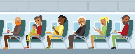 Illustration pour Various airplane passengers on the flight vector - image libre de droit