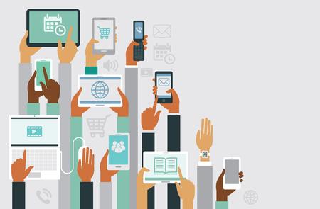 Illustration pour Human hands holding various smart devices copyspace design - image libre de droit