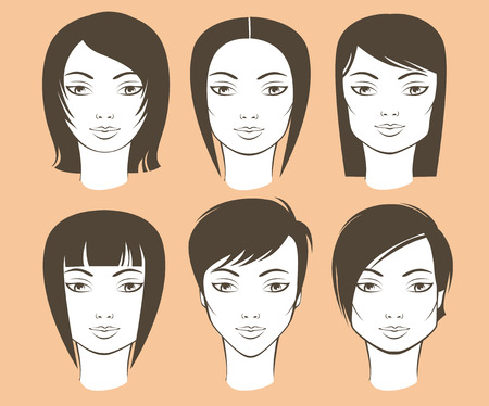 Photo pour Different female face shapes and matching haircuts - image libre de droit