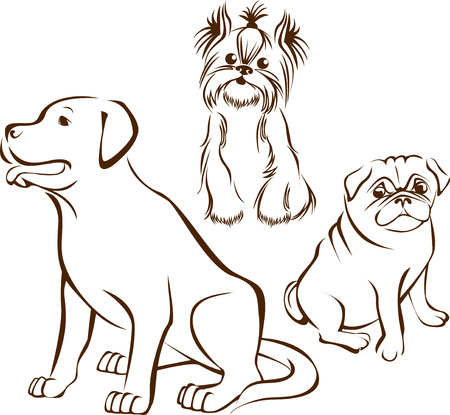 Ilustración de outline sketch  of different dogs breeds characters   - Imagen libre de derechos