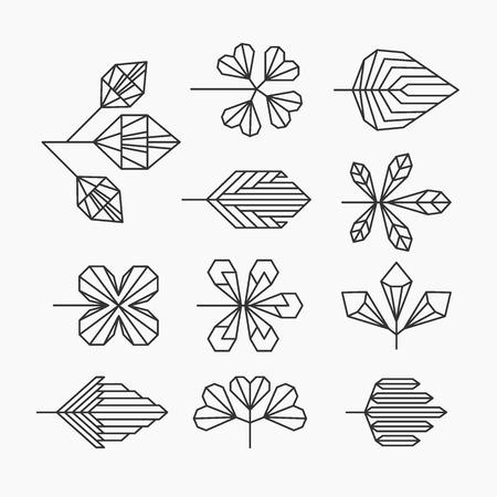 Ilustración de Hipster geometrical leaves set of isolated symbols logos. - Imagen libre de derechos