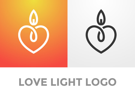 Illustration pour Candle light romantic logo, symbol of kind and tender heart, love and charity emblem - image libre de droit