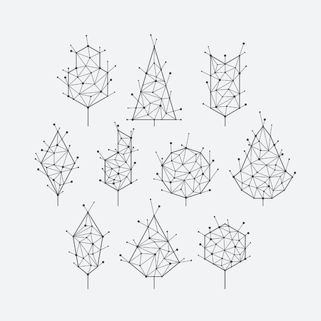 Illustration pour Polygonal grid graphical set of isolated vector trees, monochromatic. - image libre de droit