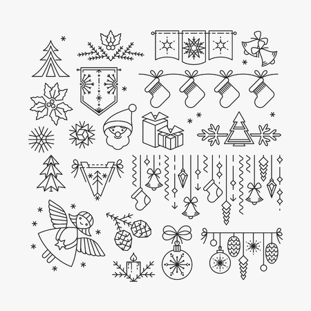 Illustration pour Set of line Christmas icons and decorations, new year isolated contour objects. - image libre de droit