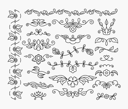 Illustration pour Thin mono line floral decorative design elements, set of isolated ornamental headers, dividers with leaves and flowers - image libre de droit