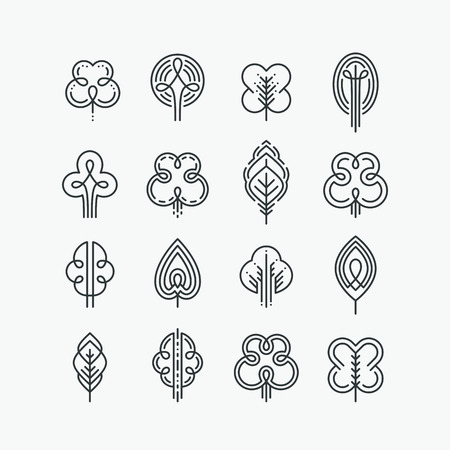 Illustration for Set of graphical line trees and leaves, mono line design collection of nature signs and symbols. - Royalty Free Image